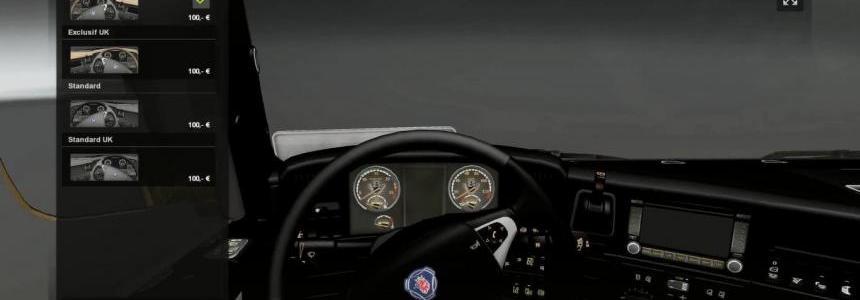 Scania V8 Gold Dashboard v 2.2 + Black/Grey Interior