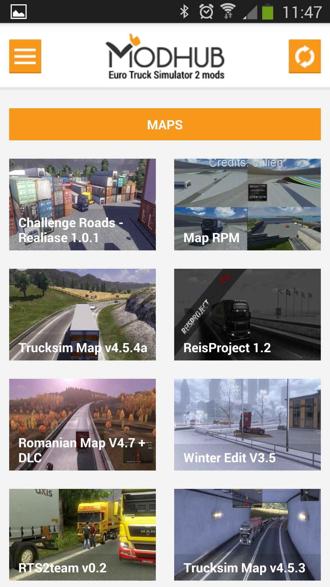 ETS2 Mods Android application - Modhub.us
