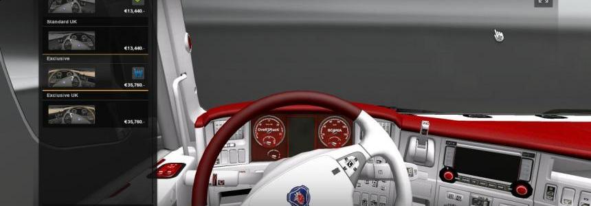 Scania R Red-White Interior