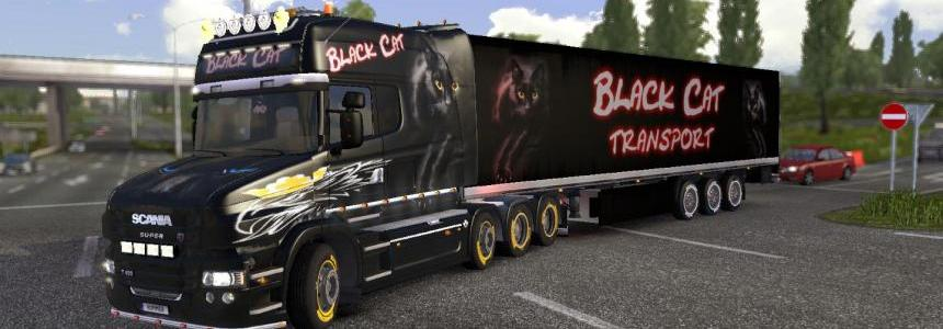 Scania T-mod Black Cat + Trailer