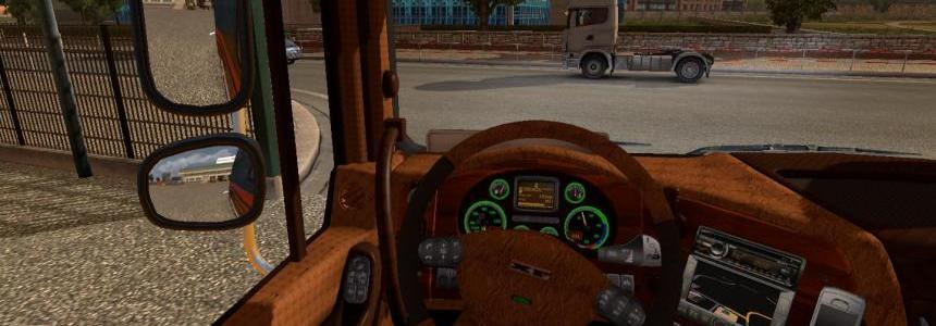 Daf XF leather and wood interior v1.0
