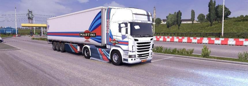 Skin scania R + skin trailer Martini Rancing 1.xx.x