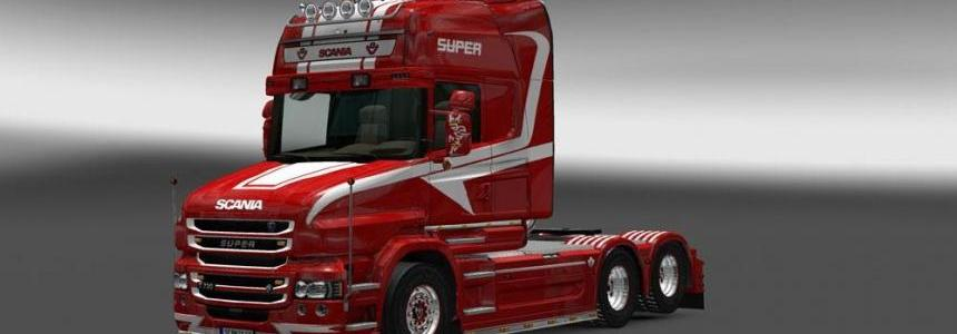 Scania T Red & White Skin