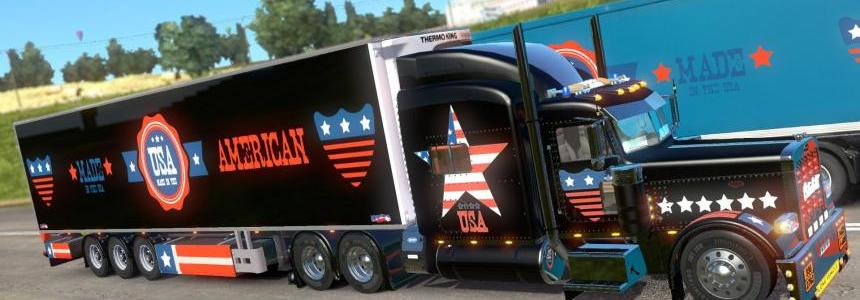 Peterbilt 389 U.S.A Metallic Paint Job and Trailer Chereau standalone