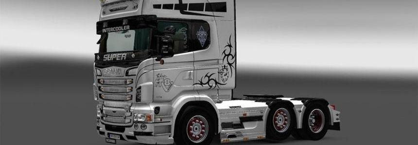 Black and White edition Holland style skin for Scania RJL
