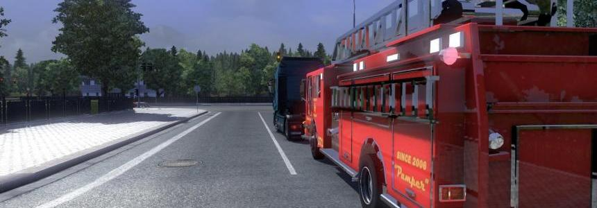 Blaze fire truck from the game Saints Row 3 in traffic