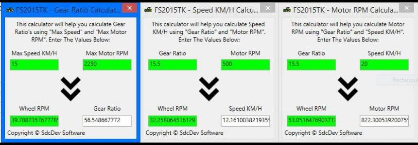 Physics Calculators (Motor, Gear Ratio, Speed) V1.0