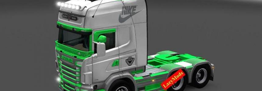 Scania RJL V8 Green and Gray Nike Skin