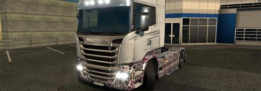 Scania Streamline white leopard skin