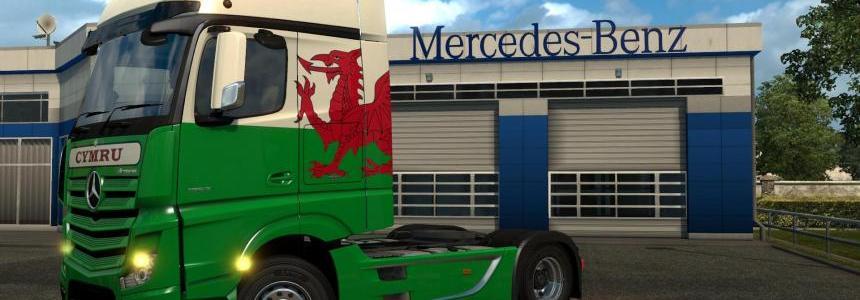 Mercedes-Benz Actros MP4 Cymru (Wales) Paintjob v1