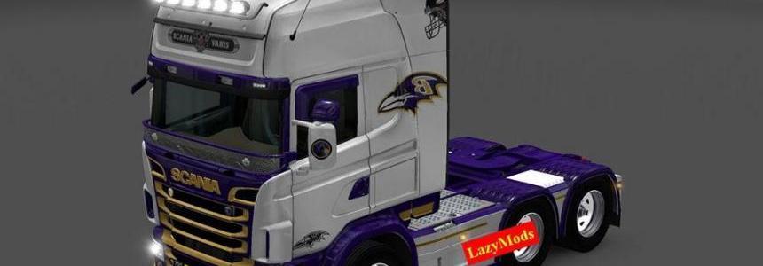 Scania RJL V8 Baltimore Ravens [NFL] [LazyMods] Skin