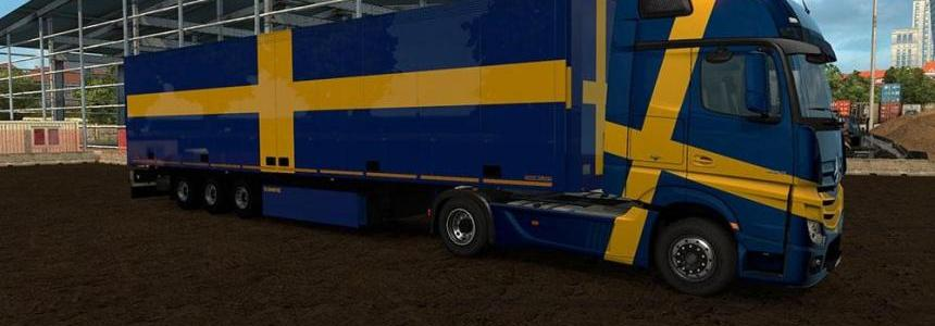 Trailer with Swedish Flags