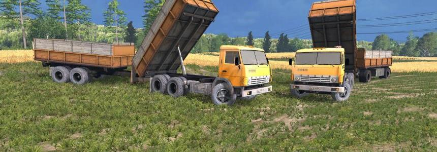 Kamaz 55102 Yelow + Trailers v1.3