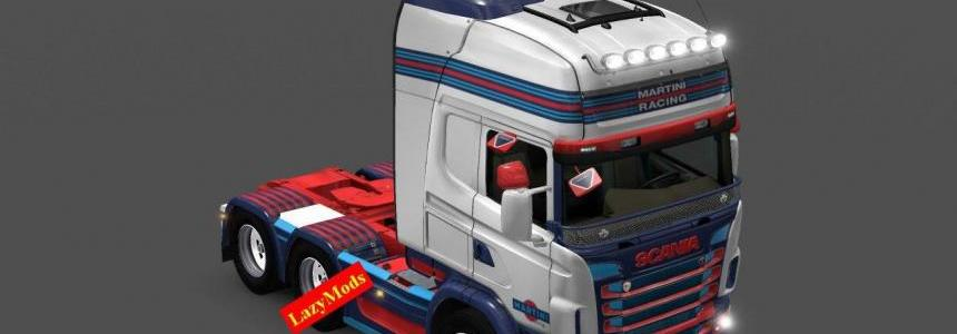 Scania RJL V8 Martini Racing Skin [LazyMods]
