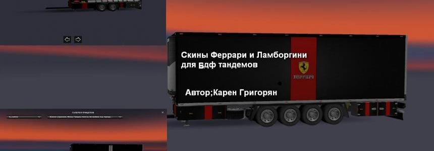 Skins Ferrari & Lamborgini For Tranden Trailer Pack 1.22