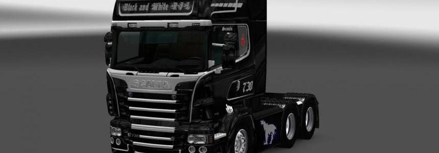 Scania RS RJL Black & White V8 Skin