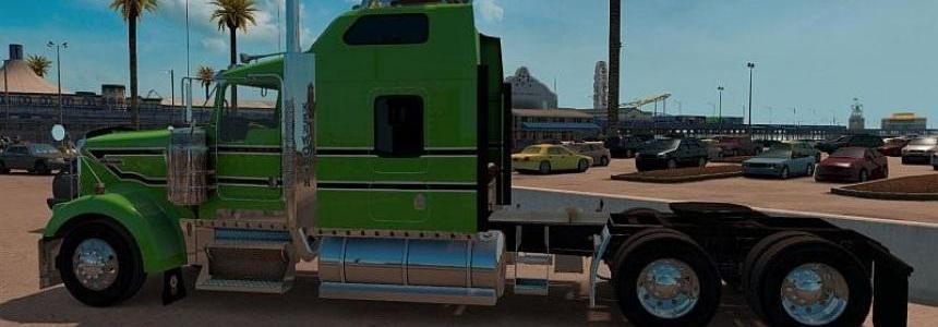 Kenworth W900 Green, Black, White Stripes Skin