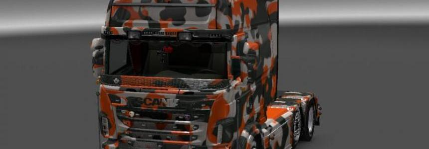 Orange Camouflage Skin for RJL SCANIA R (Multi) v1.0