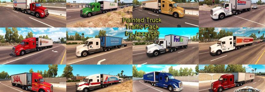Painted truck and trailers traffic pack by Jazzycat  v1.0