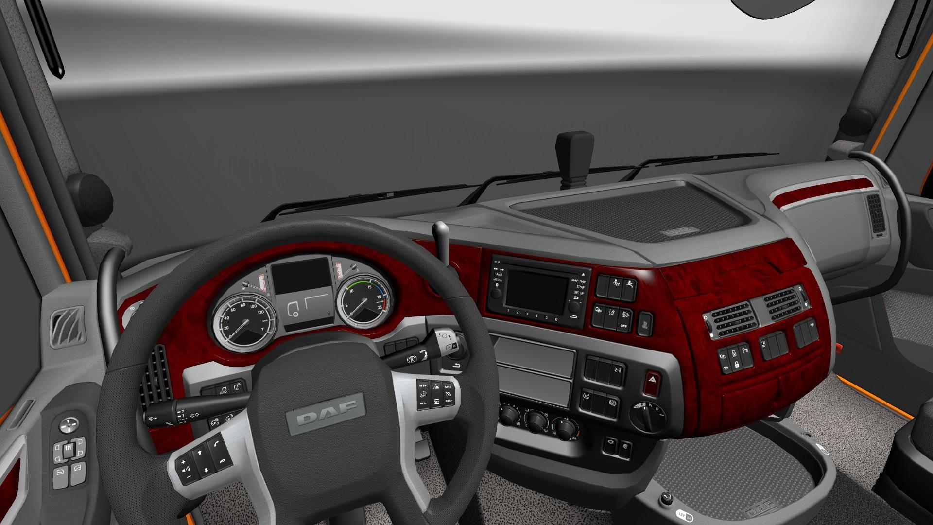 Daf xf euro 6 red wood interior v1 for Daf euro 6 interieur