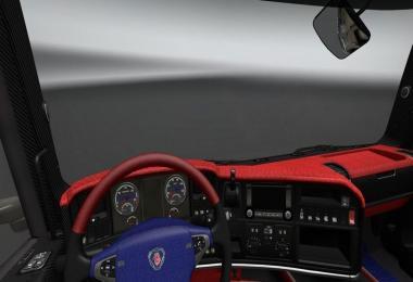 Scania R Blue Red Black Interior