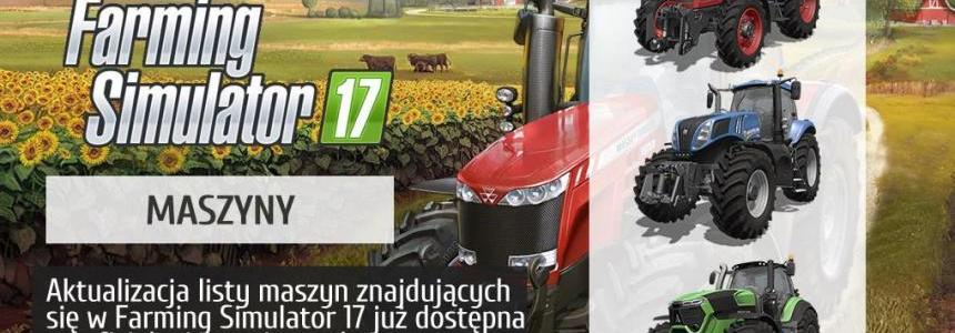 List of the machines included in FS17 is now updated!