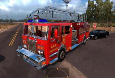 Two fire trucks in traffic (with siren and flashing lights) for v1.4