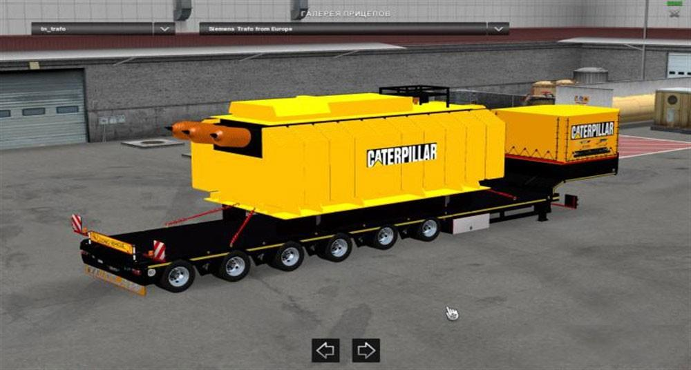 Trailer with Caterpillar Heavy Transformer