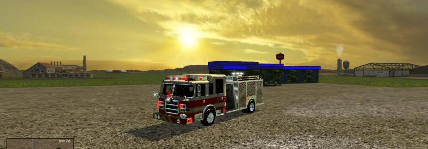 American fire truck with working hose v1.0