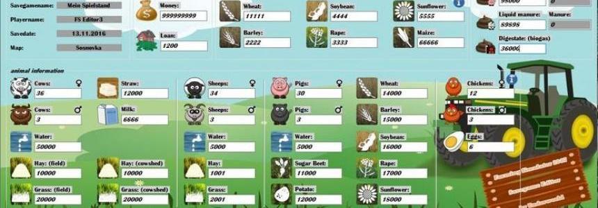 Farming Simulator 17 Savegame Editor v2