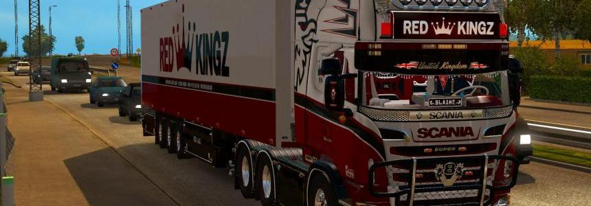 SCANIA R620 RED KINGZ COMBO For ETS2