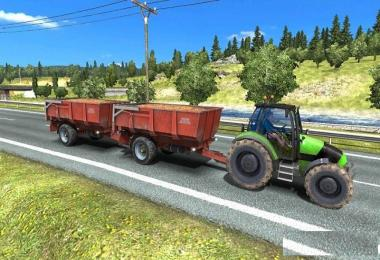 Tractor with Trailers in Traffic