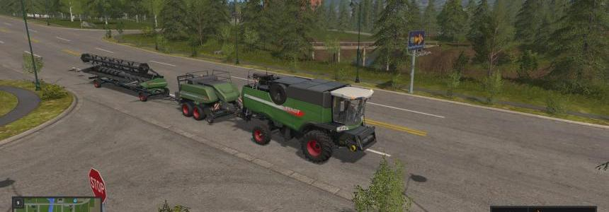 Fendt 9490X with baler attacher v1.0