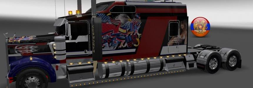 Kenworth W900 Long Metallic USA 2 Style Skin 1.26.4.3s