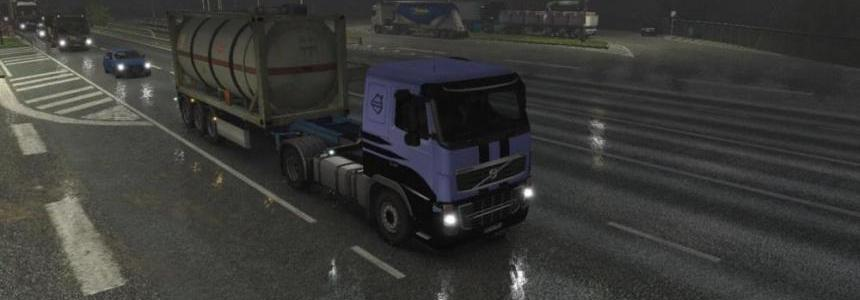 Realistic Rain Reflections & Low visible Rain Stripes for ETS2 1.26.x