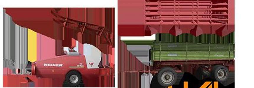 Welger Kleinballenpresse und Krone Getreide Sammelwagen v1