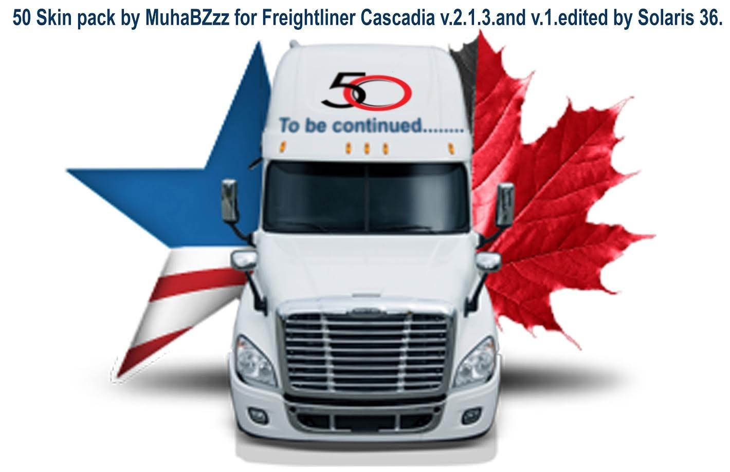 50 Skin Pack for Freightliner Cascadia V2.1.3 edited by Solaris36