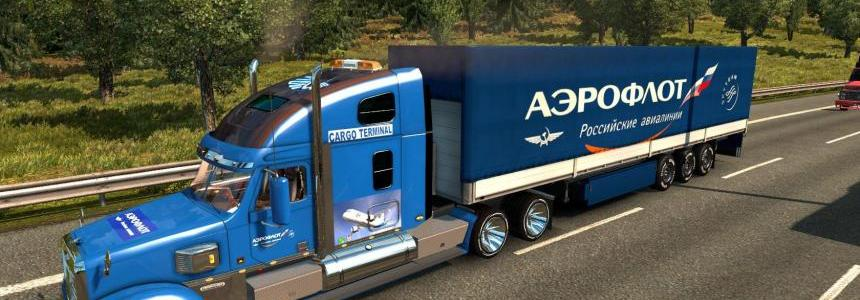 Freightliner Coronado + Skins + Trailer (1.27)