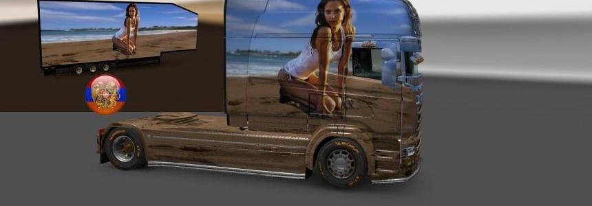 Scania RS (RJL) & Trailer Doubledeck Jessica Alba Combo Skin Packs