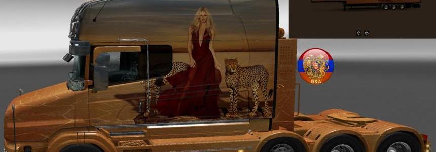 Scania T (RJL) & Trailer Doubledeck Shakira Combo Skin Packs 1.27.1.2s