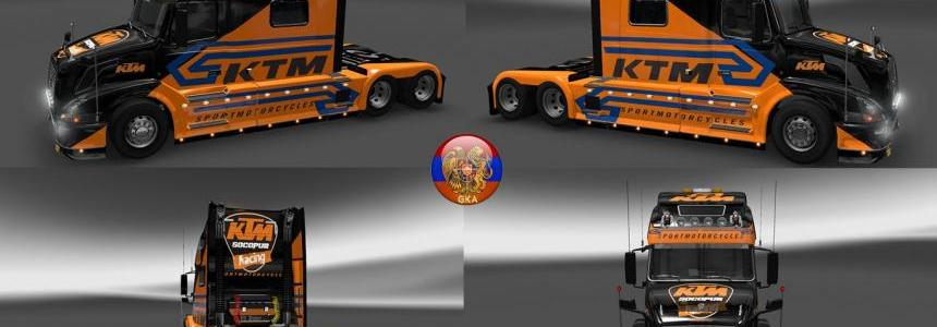 Volvo VNL780&Trailer Aero Dynamic KTM Racing Combo Skin Packs