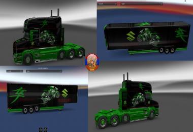 Scania T (RJL) & Trailer Aero Dynamic Suzuki Style Combo Skin Packs
