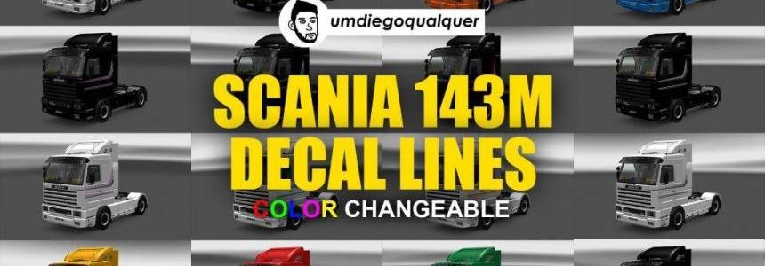 Skin Decal Lines (Color Changeable) for Scania 143m