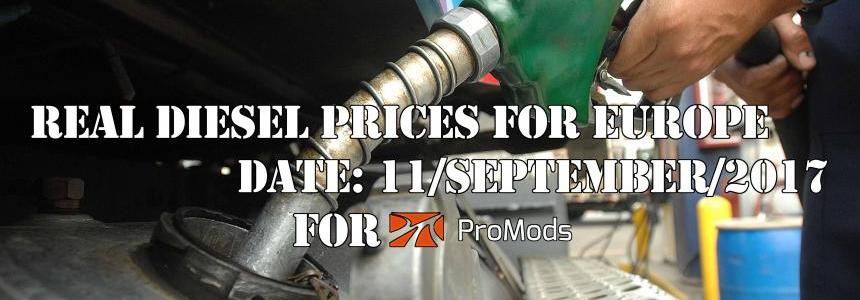 REAL DIESEL PRICES FOR EUROPE FOR PROMODS V2.20