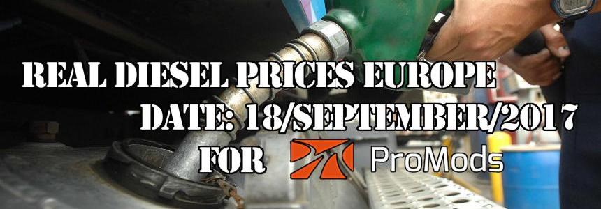 REAL DIESEL PRICES FOR EUROPE FOR PROMODS v2.20 (DATE 18/09/2017)