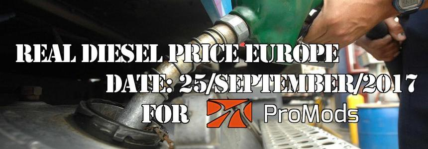 REAL DIESEL PRICES FOR EUROPE FOR PROMODS (DATE 25.09.2017)