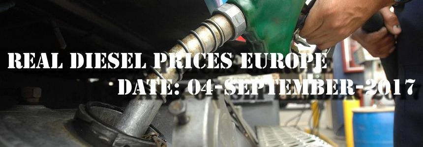 Real Diesel Prices in Europe (date 04/09/2017)