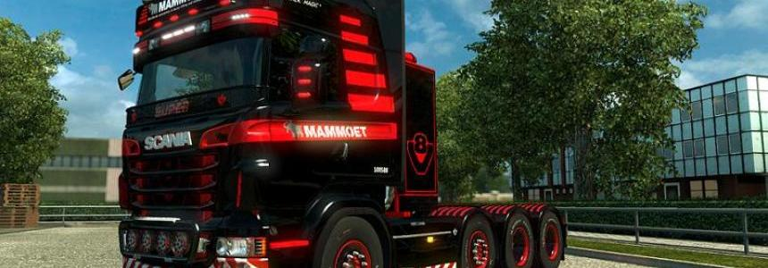 Skin Mammoet  for Scania R (RJL) + Lightbox's 1.28