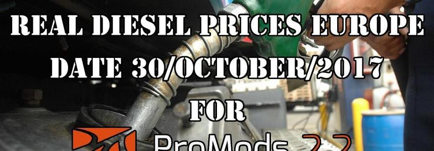 REAL DIESEL PRICES FOR EUROPE FOR PROMODS V2.20 (30/10/2017)