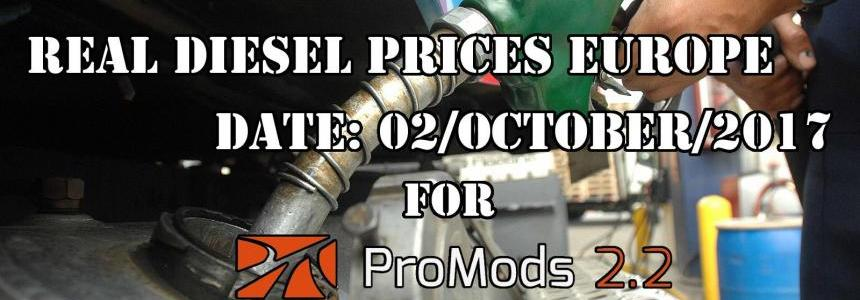 Real Diesel Prices for Europe for ProMods 2.20 (date: 02/10/2017)